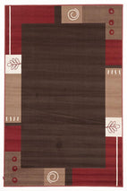 Silver BCF-Border Pattern Rug Brown Beige Red-RUG HOME