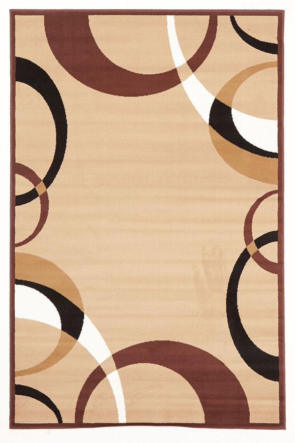 Silver BCF-Cool Beige And Brown Border Pattern Rug-RUG HOME