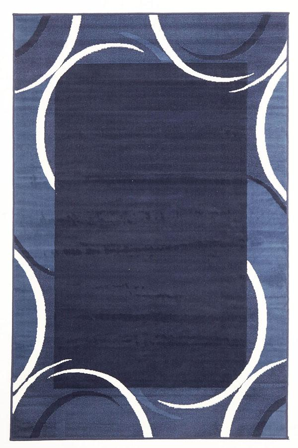 Silver BCF-Crescent Border Pattern Rug Navy Blue-RUG HOME