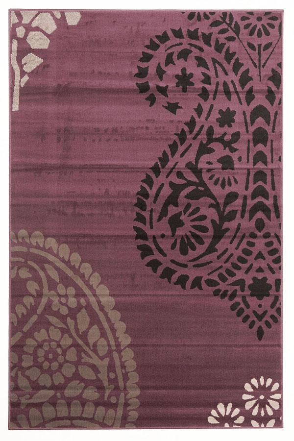 Silver BCF-Funky Paisley Design Rug Purple-RUG HOME