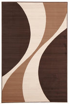Silver BCF-Funky Retro Pattern Rug Brown Beige Cream-RUG HOME