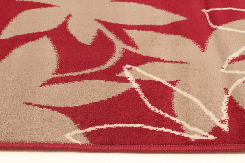 Silver BCF-Maple Leaf Design Rug Red-RUG HOME