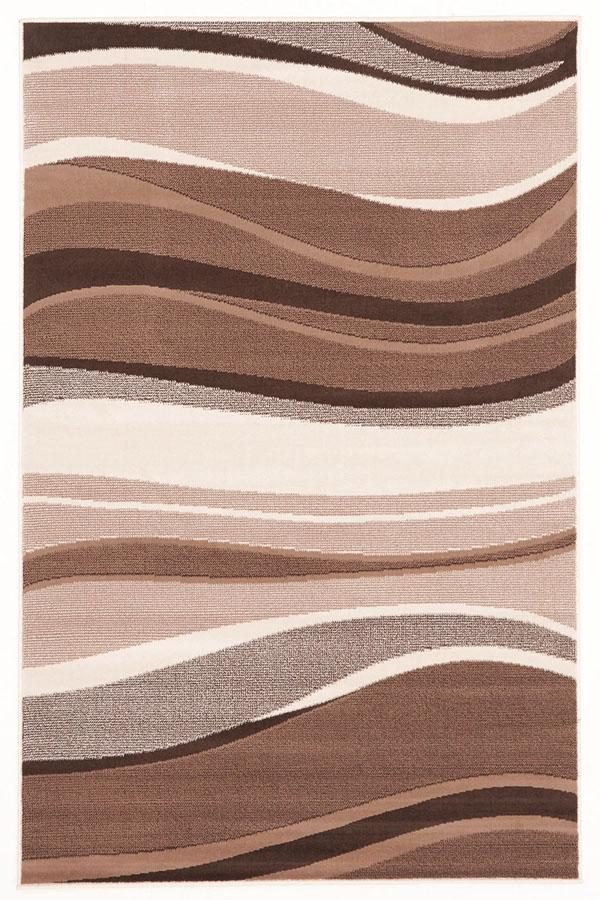 Silver BCF-Modern Beige Brown Rug Wave Pattern-RUG HOME