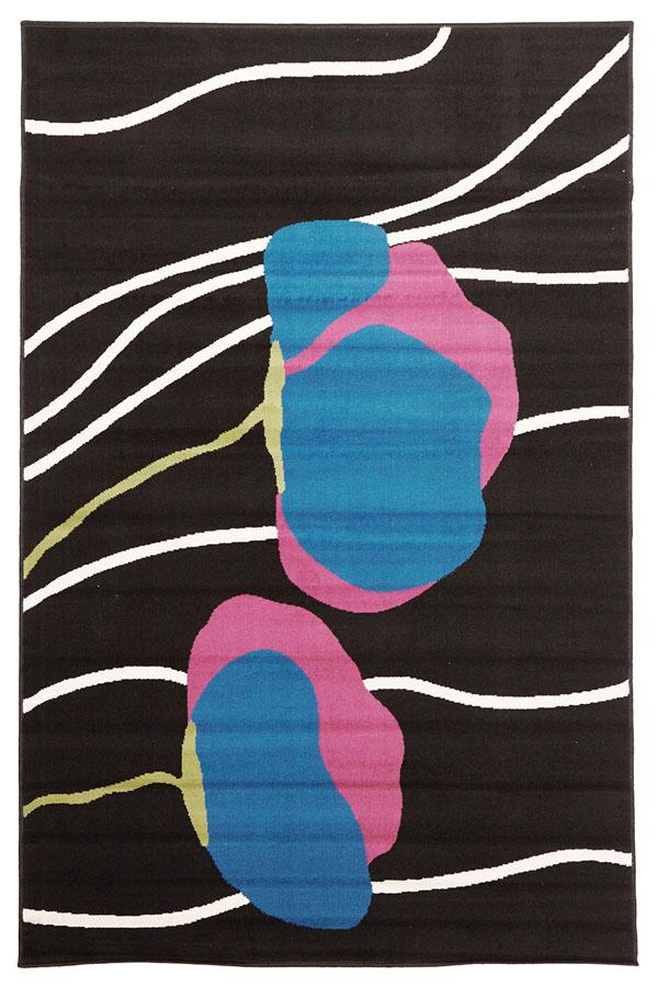 Silver BCF-Poppies Modern Rug Black-RUG HOME