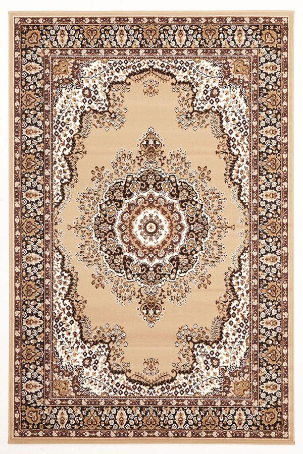 Silver BCF-Traditional Pattern Medallion Rug Beige-RUG HOME