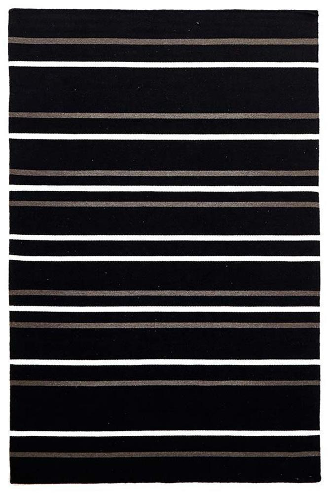 Skandi-Oslo Stripe Flat Weave Wool Rug Black-RUG HOME