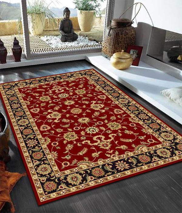 Sydney-Classic Rug Red with Black Border-RUG HOME