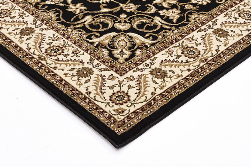 Sydney-Medallion Rug Black with Ivory Border-RUG HOME
