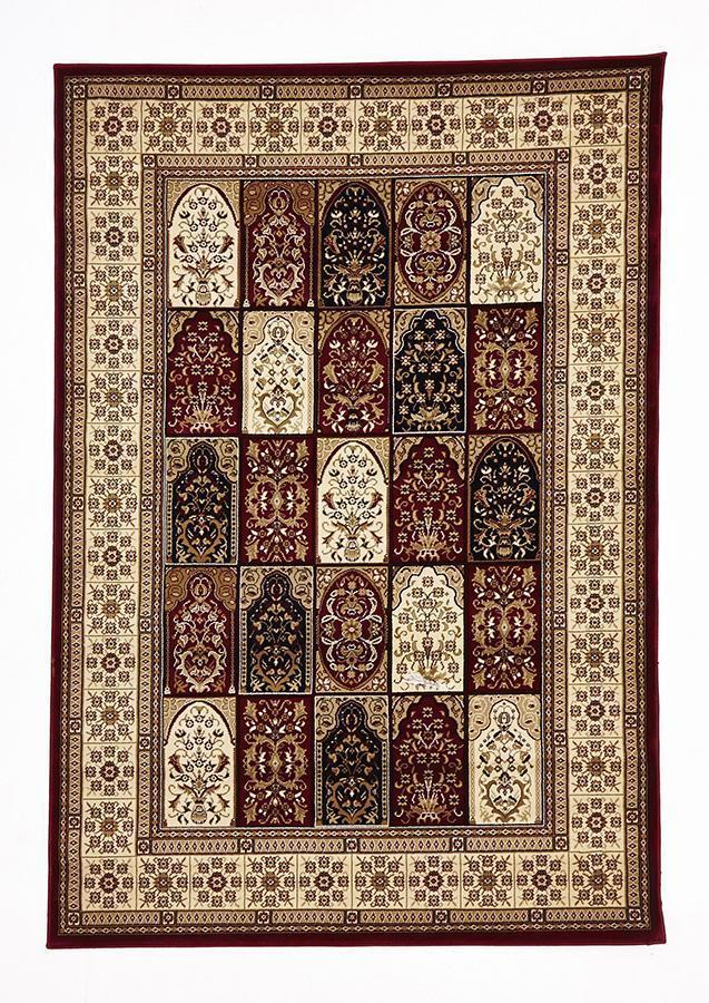 Sydney-Traditional Panel Design Burgundy with Ivory-RUG HOME