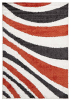 Viva-Burst Shag Rug Tangerine and Charcoal-RUG HOME