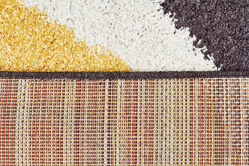 Viva-Enigma Shag Rug Yellow Charcoal White-RUG HOME