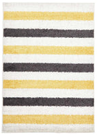 Viva-Stencil Shag Rug Yellow Charcoal White-RUG HOME