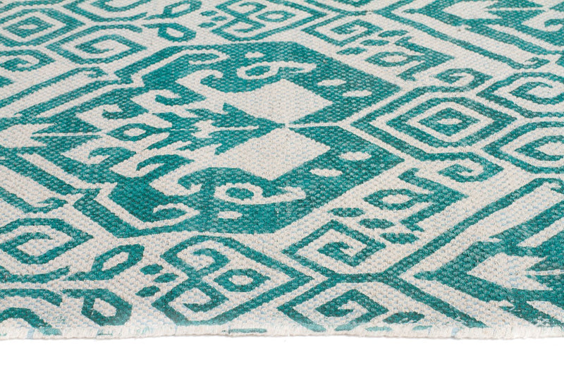 Zulu-Totemic Parade Turquoise Rug-RUG HOME