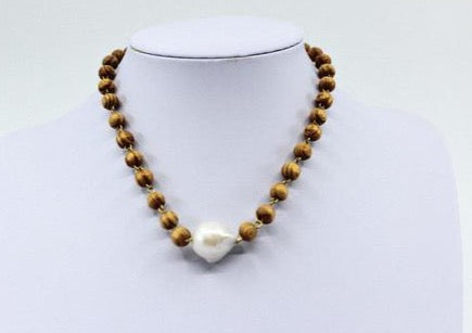 Wood Bead & Pearl Necklace - Milou Palm Beach