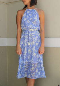 Silk Blue Halter Dress by A Peace Treaty - Milou Palm Beach