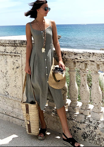 Milou Linen Button Dress - Milou Palm Beach