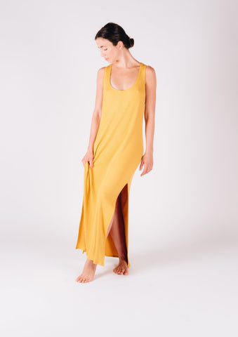 Maxi Ribbed Mustard Tank Dress - Milou Palm Beach