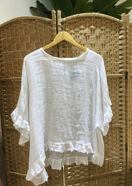 Montauk Ruffle Blouse - White - Milou Palm Beach