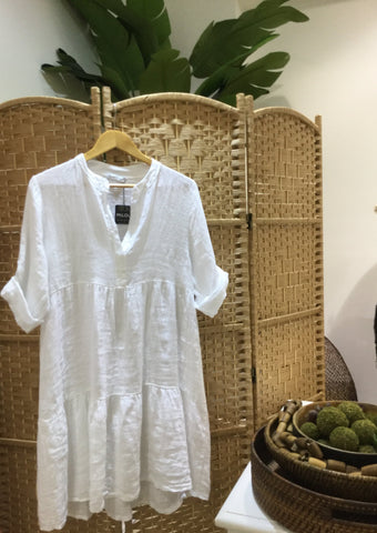 Laguna White Tiered Linen Dress - Milou Palm Beach