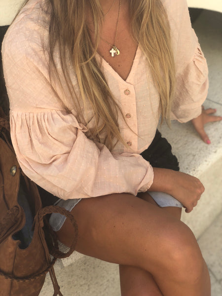 Blush Pink Cropped Blouse - Milou Palm Beach