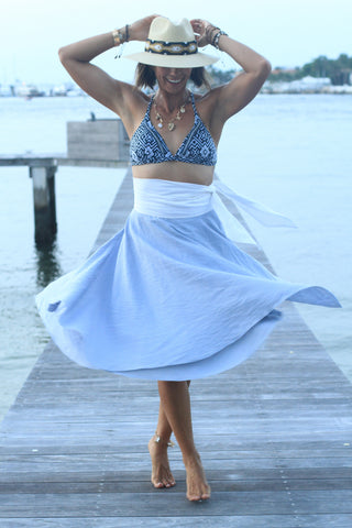 Ali Wrap Skirt - Baby Blue - Milou Palm Beach