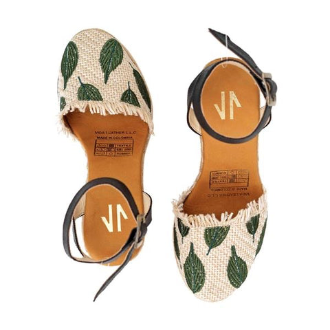 Green Palm Espadrille Wedges - Milou Palm Beach