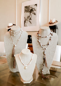White Pearl & Leather Wrap Necklace - Milou Palm Beach