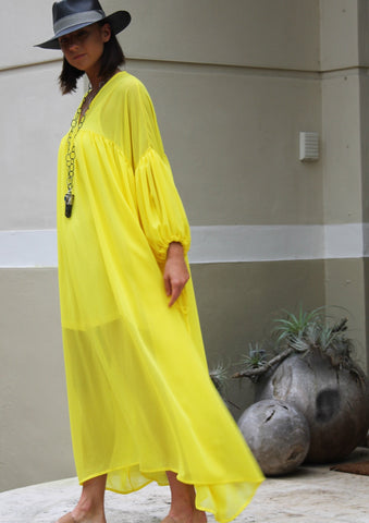 Yellow Maxi Dress- Size O/S - Milou Palm Beach