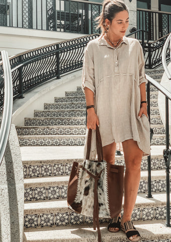 Linen Babydoll Dress - Milou Palm Beach
