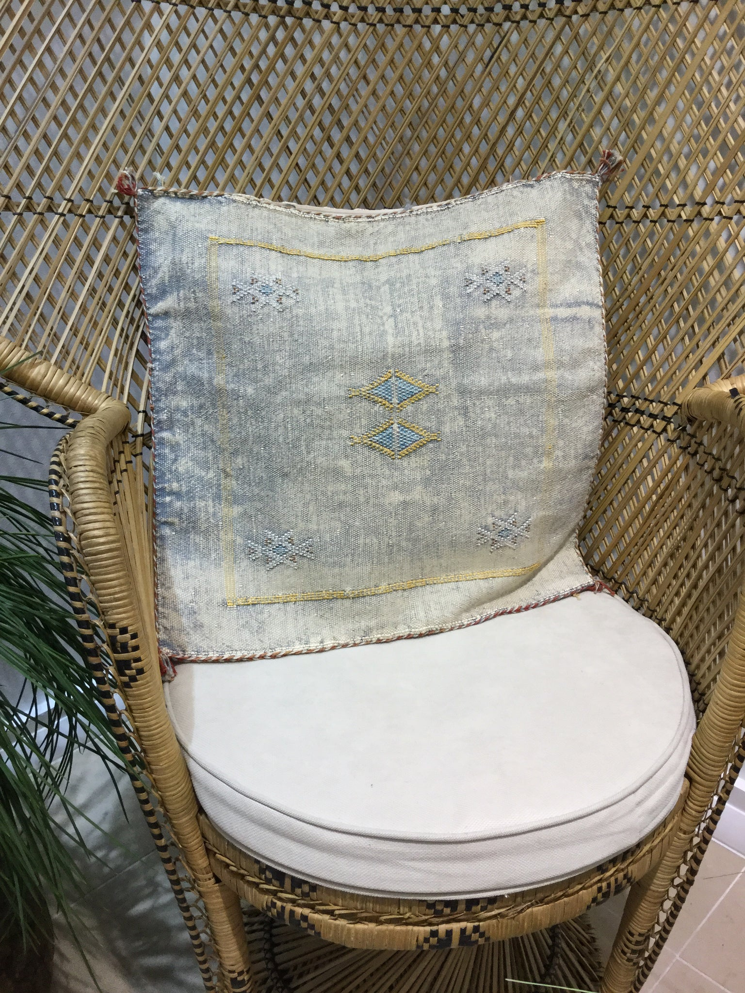 Palm Bungalow Cactus Silk Pillow Light Denim - Milou Palm Beach