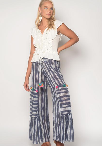 Moon River Ikat Blue Palazzo Pants - Milou Palm Beach
