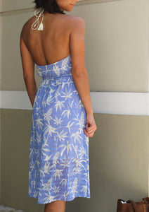 Silk Blue Halter Dress-Size M - Milou Palm Beach