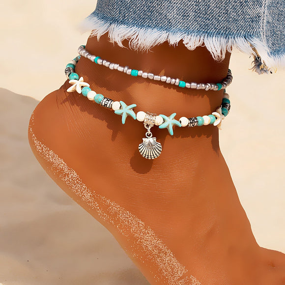 Vintage Shell Beads Anklets