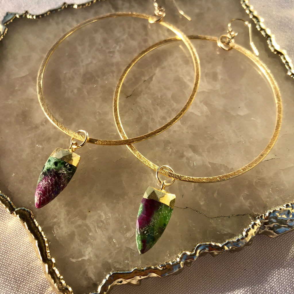 Watermelon Tourmaline Hoops