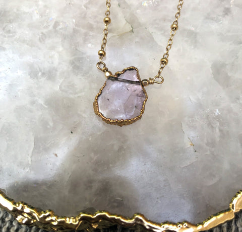 Blush Pink Druze Halo Necklace