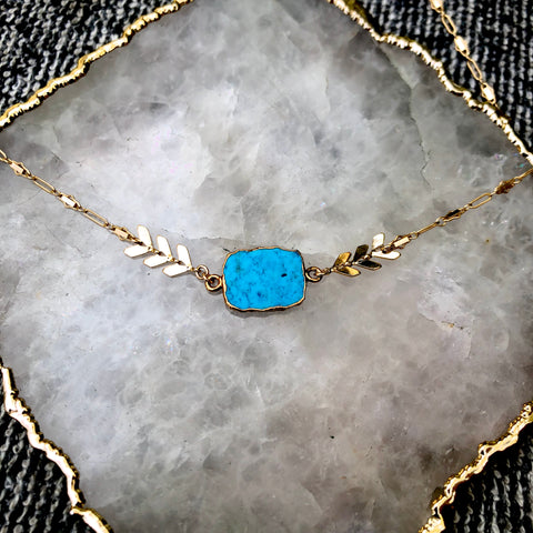 Blue Druze Halo Necklace