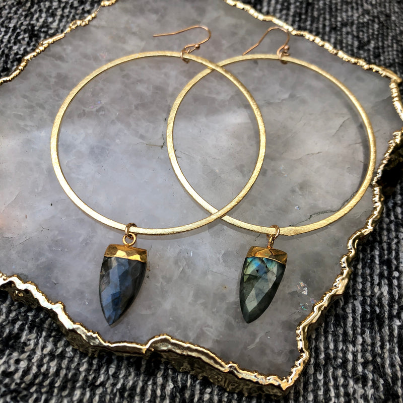 Labradorite Hoops Earrings