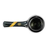 Marley Natural Smoked Glass Spoon Pipe with Gold Stripe Decal