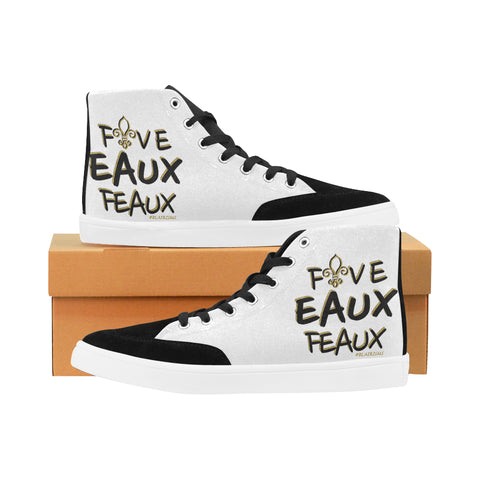BLACK/GOLD FIVE EAUX FEAUX MEN'S HI-TOP SHOES