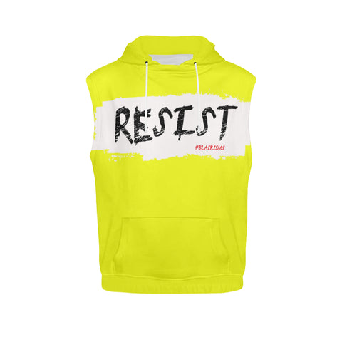 WHITE/BLACK RESIST SLEEVELESS HOODIES