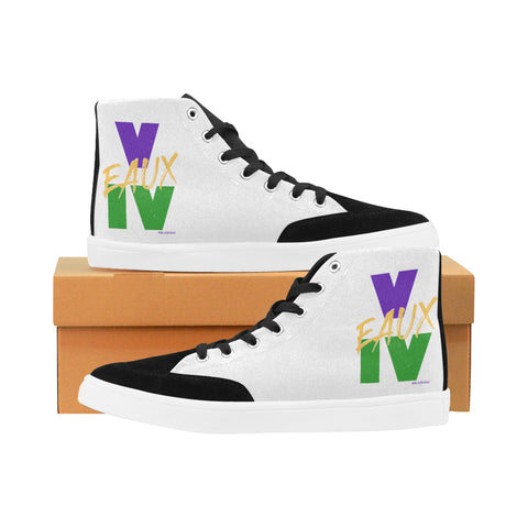 WHITE/MARDI GRAS MEN'S & WOMEN'S HI TOP SHOES