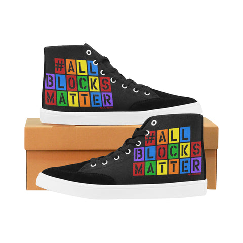 BLACK/WHITE/RAINBEAUX #ALLBLOCKSMATTER MEN'S HI-TOP SHOES