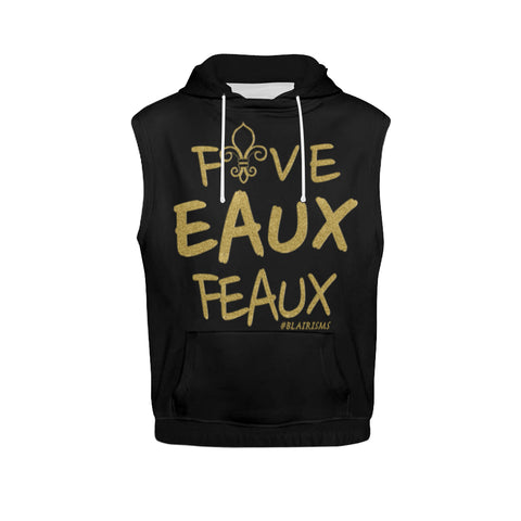 FIVE EAUX FEAUX GOLD SLEEVELESS HOODIE