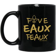 FiveEAUXFeaux GOLD 11 oz. Black Mug