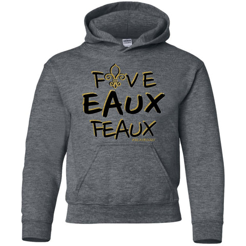 FiveEauxFeaux Black-&-Gold Youth Pullover Hoodie