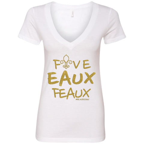 FiveEAUXFeaux GOLD Women's Deep V-Neck