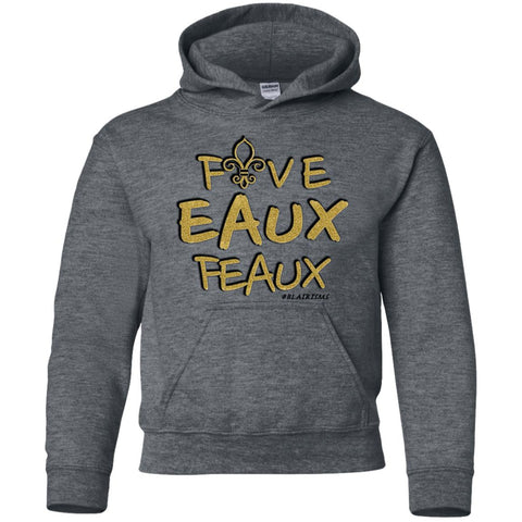 FiveEauxFeaux Gold-&-Black Youth Pullover Hoodie