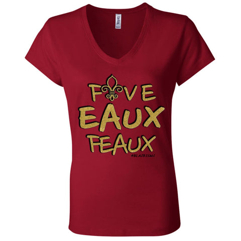 FiveEauxFeaux Gold-&-Black Women's V-Neck