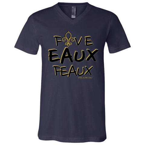 FiveEauxFeaux Black-&-Gold Boy's V-Neck