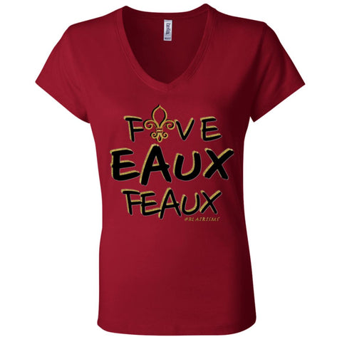 FiveEauxFeaux Black-&-Gold Women's V-Neck
